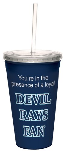 Tree-Free Greetings cc34103 Devil Rays Baseball Fan Artful Traveler Double-Walled Cool Cup with Reusable Straw, 16-Ounce