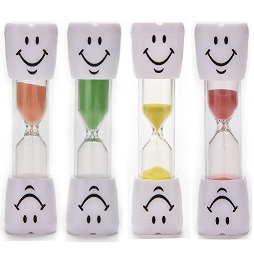JiaUfmi 4 Pack Kids Toothbrush Timer 2 Minutes Smiley Hourglass Sand Clock Timer for Children, Green, Red, Yellow, Orange