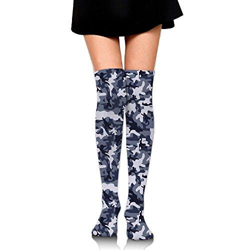 Soccer Anklet (RobotDayUpUP Blue Camouflage Pattern Womens Long Socks,classic Girls Skirt Stockings Knee Thigh Socks For Running Soccer Sports Dance Yoga Cheerleader Hiking Outdoor)