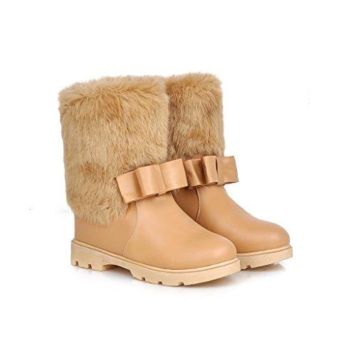 CXQ-Talones QIN&X Ocio Mujer Caliente Botas Zapatos de Nieve Inferior Grueso Apricot