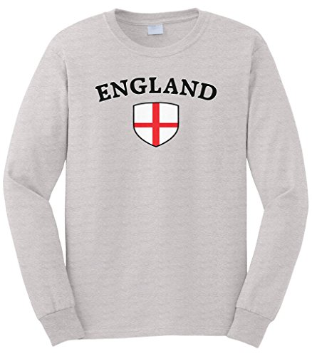 Cybertela Men's England Flag Crest Shield Long Sleeve T-Shirt (Light Gray, X-Large)