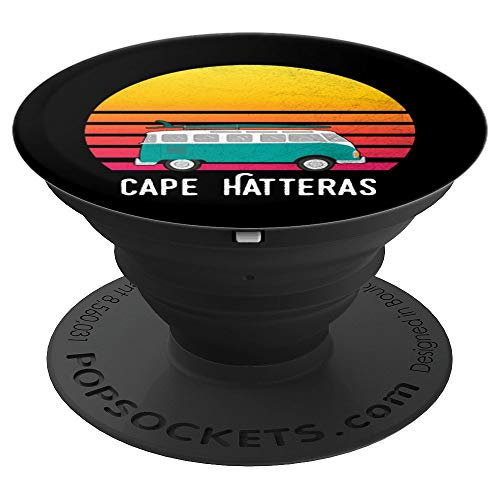 Cape Hatteras Retro Sunset Surfing Hippie Van - PopSockets Grip and Stand for Phones and Tablets (Hatteras Cape Surf)