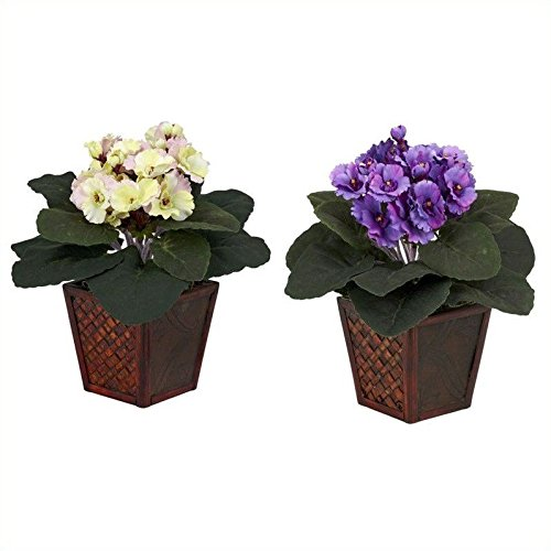 Nearly Natural 6685-S2 African Violet with Vase Decorative Silk Plant, Purple/Cream/Pink, Set of 2 - African Violet Blooms