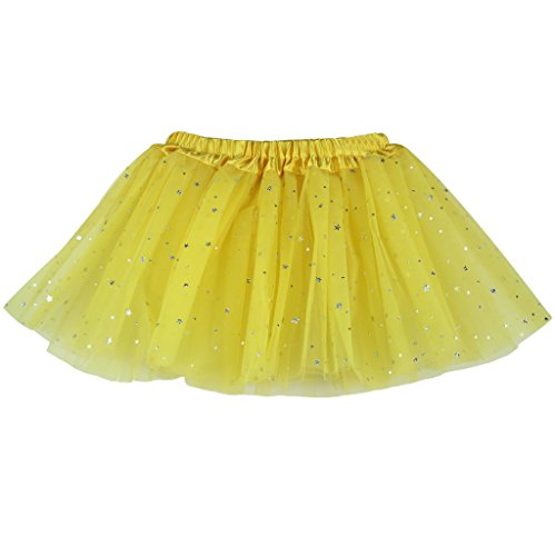Buenos-Ninos-Girls-3-Layers-Sequin-Ballet-Dance-Skirt-with-Sparkling-Stars-Dress-up-Tutu-Yellow