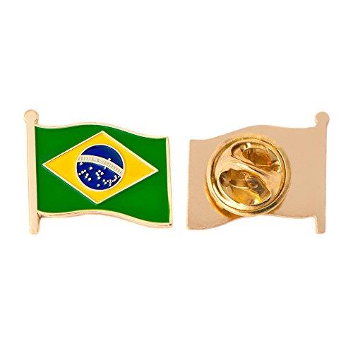 Brazil Country Country Flag Lapel Pin Enamel Made of Metal Souvenir Hat Men Women Patriotic Brazilian (Waving Flag Lapel Pin)