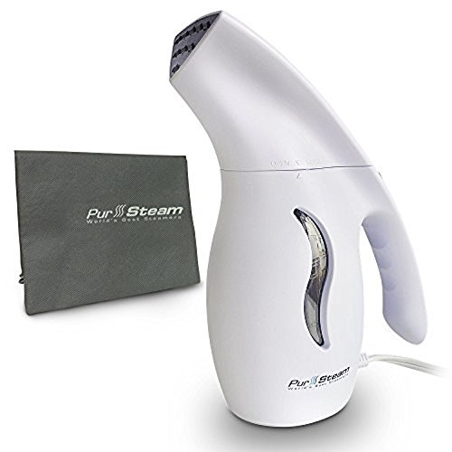 PurSteam Next Gen Fabric Steamer, Fast-Heat Aluminum Heating Element With Travel Pouch, 180ml Capacity Perfect for Home and Travel (Arctic White)