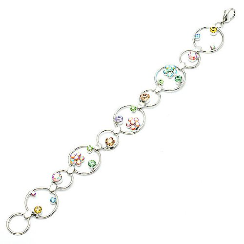 Glamorousky Flower in Circle Bracelet with Multi-Colour Austrian Element Crystals 1045