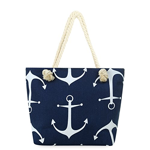 Beach Bag MISS FANTASY Anchor Print Beach Tote Large Canvas Summer Tote with Zipper Good for Beach and Travel (Navy (Anchor Tote Bag)