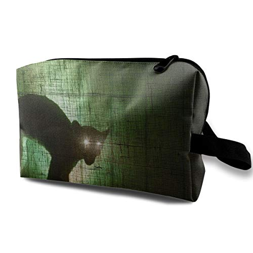 Halloween Cat Black Eyes Scary Multi-function Travel Makeup Toiletry Coin Bag Case ()