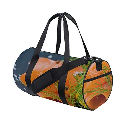 (Fresh And Juicy Salmon Custom Multi Lightweight Large Yoga Gym Totes Handbag Travel Canvas Duffel Bags With Shoulder Crossbody Fitness Sport Luggage For Boy Girl Men Women)