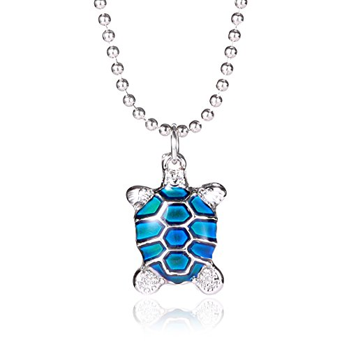 Rinhoo Cute Turtle Mood Color Change Pendant Necklace White Gold Plated(Turtle)) - Cute Turtle