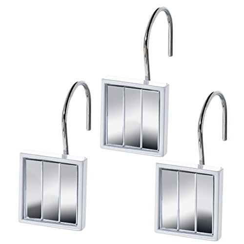 Quilted Mirror Resin Shower Curtain Hooks  Set Of 12  Decorative Rust  Resistant Bath Hook  Durable Sturdy Construction  Smooth Gliding Mechanism   For ...