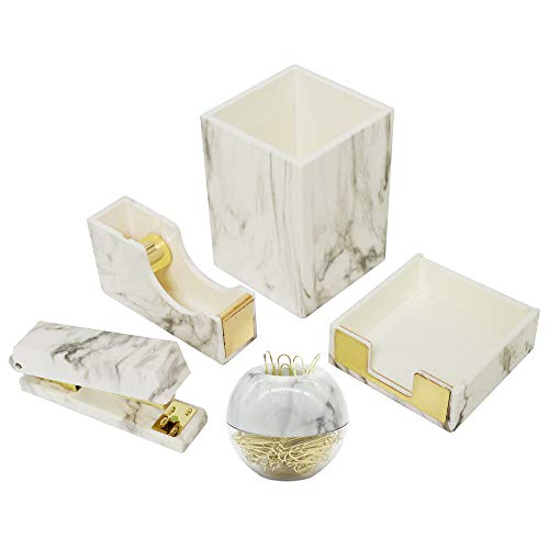 Multibey Marble Office Supplies Desk Organizers, 7 in 1 Desktop Organization Accessories Set of Pen Holder Stapler Paper Clips Sticky Notes Pad Holder Tape Dispenser (Marble White and Gold)