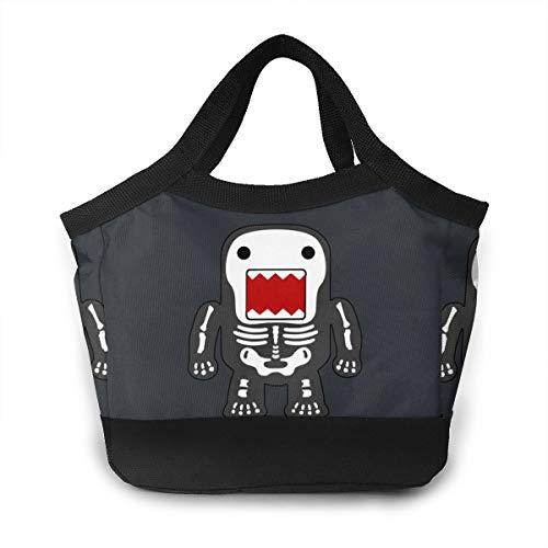 YVONNE WIDLAN Polyester Lunch Bag Tote Reusable Waterproof Lunchbox Funny Cool Domo-kun Skeleton Storage Bag with Leak Proof Liner for Men, Women