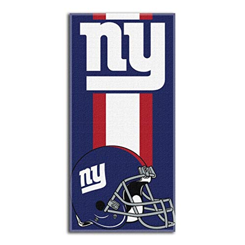 1 Piece NFL Giants Zone Read Beach Towel 30 X 60 Inches, Football Themed Towel Sports Patterned, Team Logo Fan Merchandise Athletic Team Spirit Blue Grey Red White, Cotton Polyester