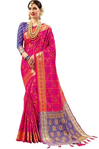 c545537399 EthnicJunction Double Ikat Vibrant Patola Woven Art Silk Saree With Blouse  Piece (Pink_Free Size): Amazon.in: Clothing & Accessories