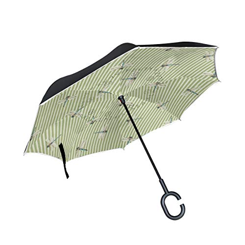 (Animal Dragonfly Stripe Double Layer Car Reverse Umbrella, Auto-Open Self-Standing Umbrella with C-Shape Handle, Inverted Umbrella with Light Reflection)