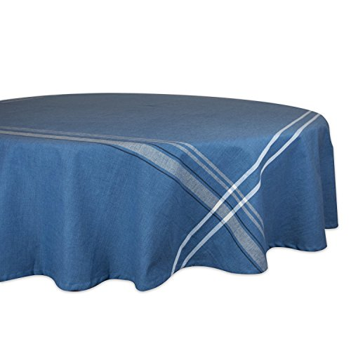 DII 100% Cotton, Machine Washable, Everyday French Stripe Kitchen Tablecloth For Dinner Parties, Summer & Outdoor Picnics - 70 Round Seats 4 to 6 People, Blue Chambray