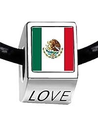 Silver Plated Mexico flag Photo LOVE Bead Charm Bracelets