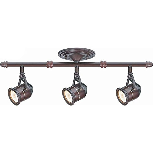 Hampton Bay 3-Light Antique Bronze Ceiling Bar Track Lighting Kit Bronze Right Track