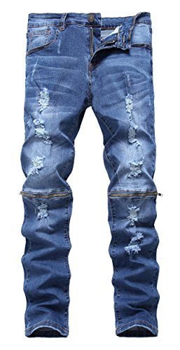 Men's Blue Ripped Skinny Distressed Destroyed Straight Fit Denim Jeans with Holes (Skinny Jeans Fashion Men)