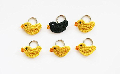 Lantern Moon Handcrafted Yellow Ducks with 1 Black Duck Knitting Stitch Markers