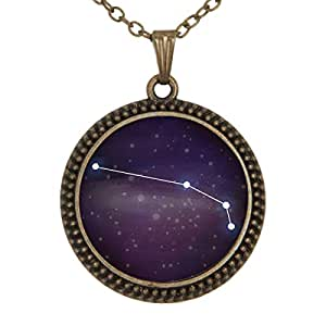 Lightrain Purple Blue Starry Sky Pendant Necklace Vintage Bronze Chain Statement Necklace Handmade Jewelry Gifts