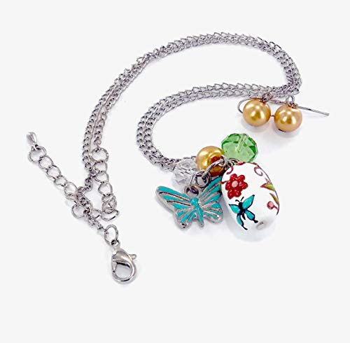 Linpeng NE-3065C Fiona Hand Painted Butterfly and Flower Glass Bead, Crystal Pearl Beads, Butterfly Charms Necklace and Earrings Set, Blue