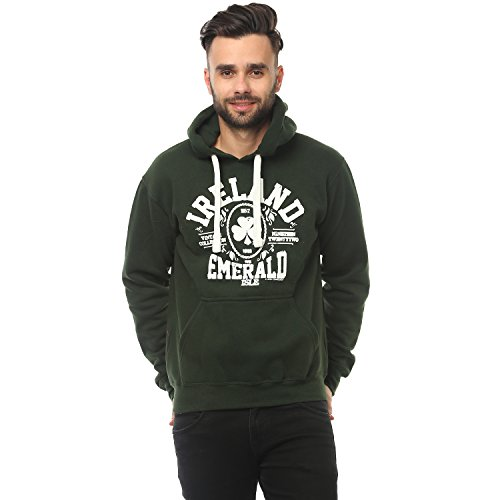 Carrolls Irish Gifts Pullover Hoodie With Ireland Emerald Isle Print, Forest Green Colour