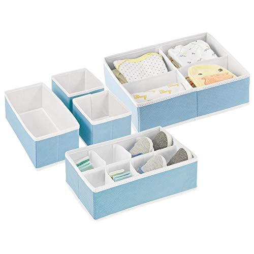 mDesign Soft Fabric Dresser Drawer and Closet Storage Organizer Set for Child/Baby Room or Nursery – Set of 5 Organizers – Light Blue/White