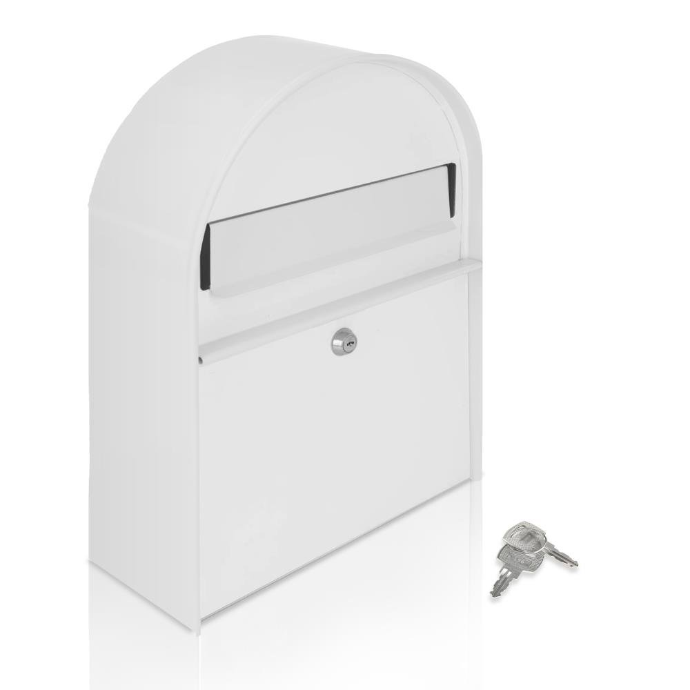 Serenelife Wall Mount Lockable Mailbox - Modern Outdoor Galvanized Metal Key Large Capacity, Commercial Rural Home Decorative, Office Business Parcel Box Packages Drop Slot Secure Lock - SLMAB15 White