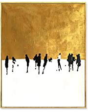AIDAYU ART 100% Hand Painted Oil Painting On Canvas Abstract Dancing On Gold Snowing Square Artwork for Home Wall Decor Unframed
