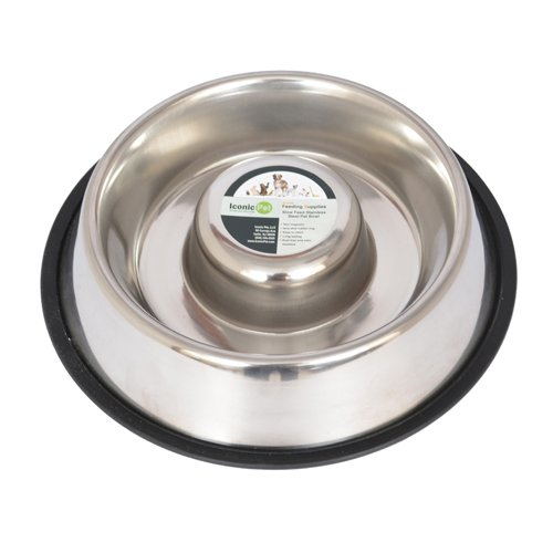 Iconic Pet Slow Feeding Stainless Steel Bowl with Anti-Skid Rubber Ring in Varying Sizes, Noise Free Stable Pet Feeding…