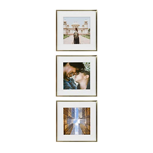 Tiny Mighty Frames - Gold Metal Square Photo Frame, 11x11 (8x8 Matted) (3, - Metal Square Frame