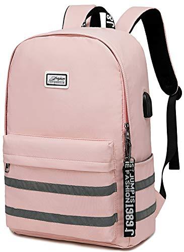 Girls School Laptop Backpacks Travel Womens College Backpack School Bag 15.6 inch USB Daypack Outdoor (9301 Pink)