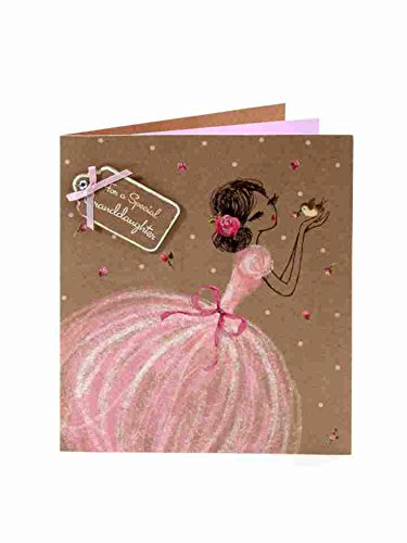 Pretty Pink Puffball Dress Luxury Birthday Greeting Card- For Granddaughter