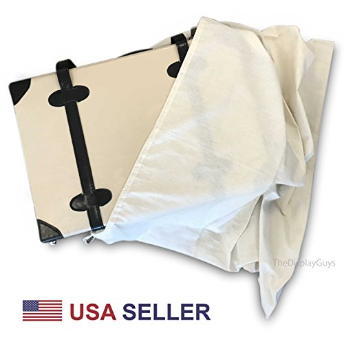 2 Pack 29''x29'' Extra thick Cotton Muslin Laundry Dust Cover Bags with Drawstring Natural Color by The Display Guys