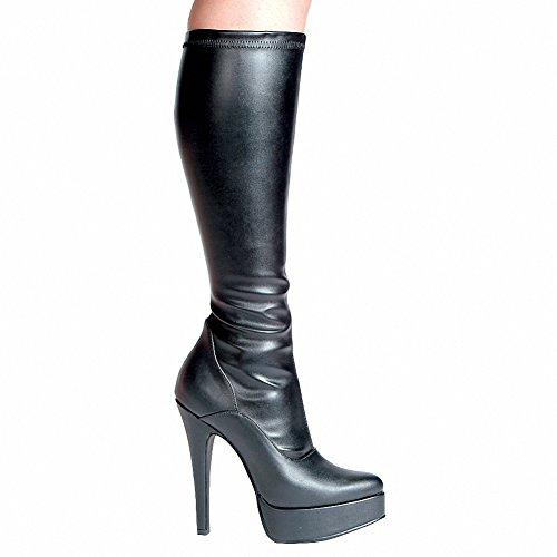 Ellie 551-emma Femmes Sexy Confortable 5.5 Talon Genou Stretch Boot W / Intérieure Fermeture À Glissière Blk