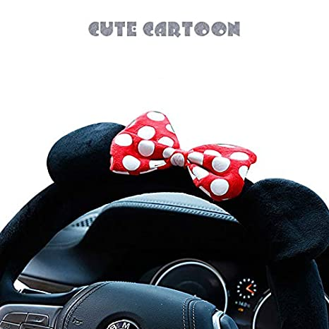 RONSHIN Cute Cartoon Steering Wheel Cover Mickey Car Auto Accessories Indoor Cover Women Steering Whee Cover Minnie