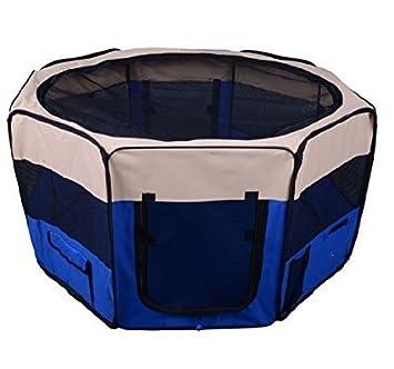 PawHut Parque Mascotas 114x114x58 cm Entrenamiento Perros Gato Mascota Juego Acero Azul: Amazon.es: Jardín