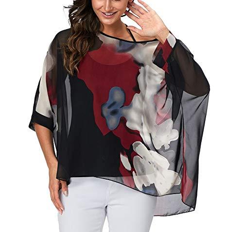 (Myosotis510 Women's Chiffon Caftan Poncho Tunic Top Cover up Batwing Blouse (Z-4333))