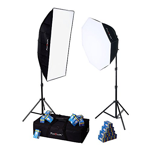Fotodiox LED-955 Compact Studio Continuous 2-Light LED Softbox Lighting Kit for Film, Video and Photography; Ideal for One to Two Person Portrait, or Small to Medium Tabletop Setup