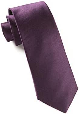 The Tie Bar 100% Silk Eggplant Solid Satin Skinny Tie
