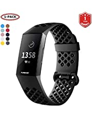 FunBand Fitbit Charge 3/Charge 4 armband, ademend, verstelbaar, vervanging, zacht siliconen, sporty polsband, polshorloge, horlogeband, lus armband voor Fitbit Charge 3/Charge 4 smartwatch