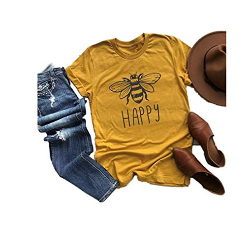 Sunmoot Clearance Sale Women's T-Shirt Cute Bee Graphic Casual Blouse Summer Short Sleeve Happy Letter Plus Size Tees Tops Yellow