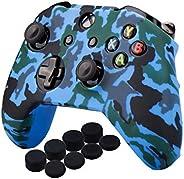 MandaLibre Funda + 8 Grips de Silicona para Controles de Xbox One S y X (Azul Camuflaje)