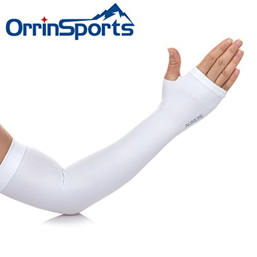 OrrinSports Unisex UV Protection Elastic Compression Arm Sleeves with Thumb Holes for Outdoor Sports - I Buy Sportswear Cheap Can Where