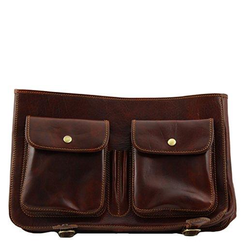 size Dark Leather bag Tuscany Brown messenger Ancona Leather Large Brown Dark TxFgY