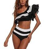 Quelife Womens Ruffle Bandage Bikini de cintura alta Push Up Traje de baño sin tirantes con tiras Traje de baño