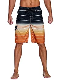 e52cefa200694 Men's Swim Trunks Colortful Striped Beach Board Shorts with Lining